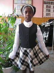 Школьный сарафан для девочки,  с отделкой