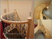 Изогнутые поручни,  ограждения,  опорные столбы для лестниц.