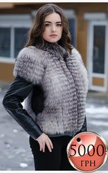 Куртка из меха блуфрост с кожаными вставками по акционнной цене