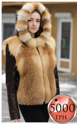 Куртка из меха лисы с кожаными вставками по акционной цене