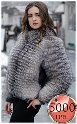 Куртка из меха блуфрост с кожаными вставками на заязах по акции
