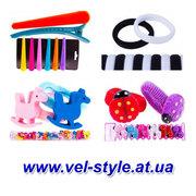 Резинки для волос,  заколки,  крабы,  обручи,  детская бижутерия оптом