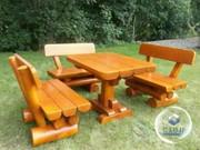 Комплект мебели для сада из бревна