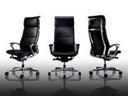 Кресло Руководителя OKAMURA DUKE Black в коже,  с высокой спинкой