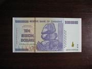 10 миллиардов долларов Зимбабве UNC
