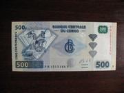 500 франков Конго UNC
